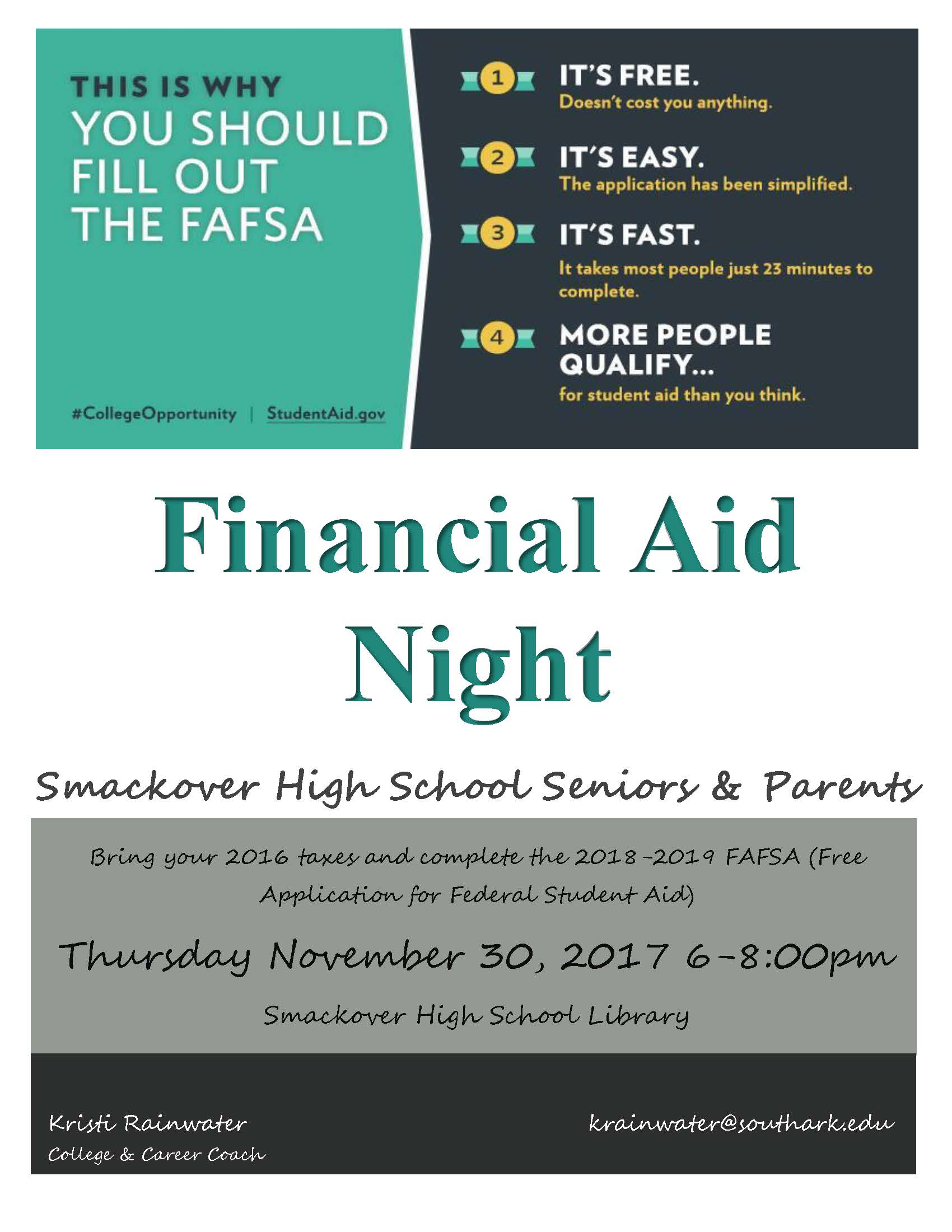 SHS Financial Aid Night Scheduled .
