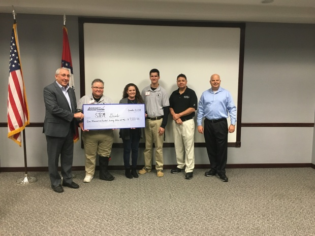 Aerojet Rocketdyne presenting the STEM department of Smackover High School with a Check