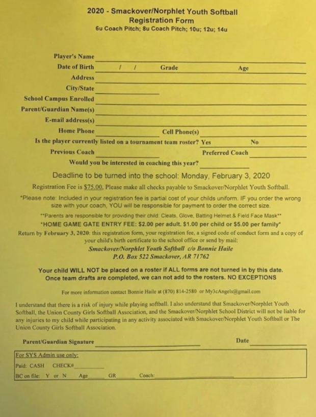 Youth Softball Registration Form 2020