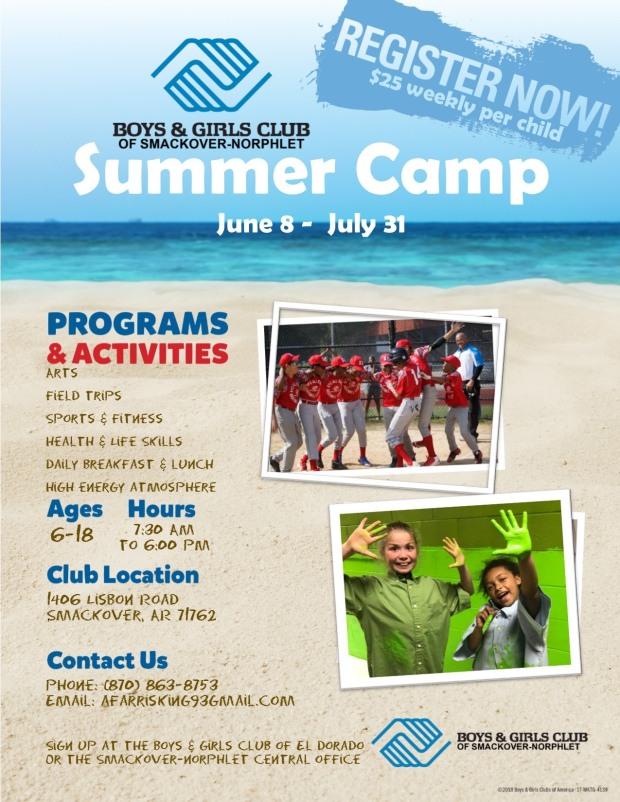 Boys and Girls Club Summer Camp Flyer
