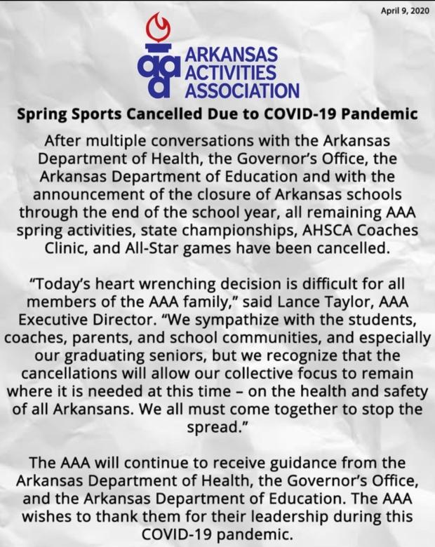 Arkansas Activities Association Cancellation Announcement