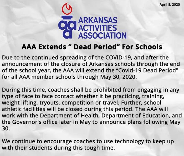 AAA extends Dead Period For Schools Info Flyer